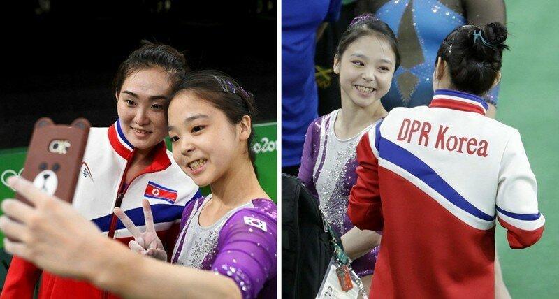 Пока Ким Чен Ын не видит: Гимнастки из Северной и Южной Кореи сделали совместное селфи