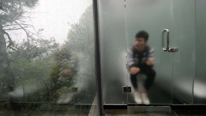 В Китае открылся стеклянный туалет с видом на экопарк