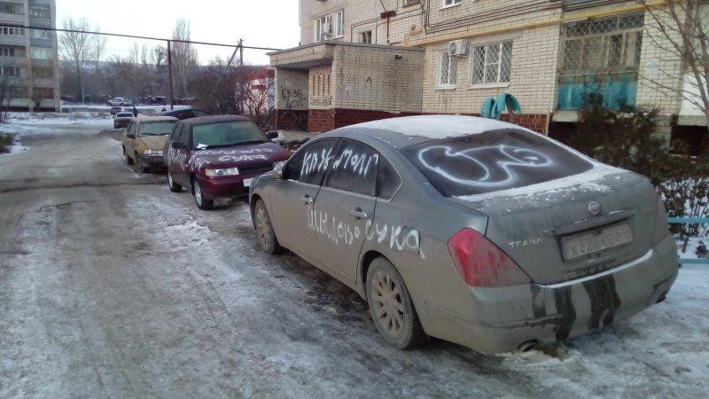 В Саратове коллекторы разрисовали восемь автомобилей