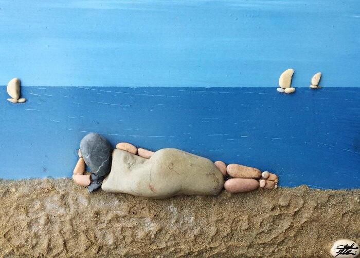 Картинки из пляжных камней