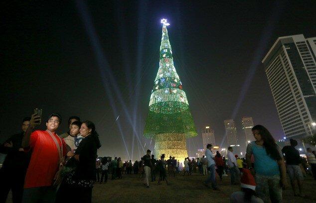 Шри-Ланка претендует на новый рекорд: самая высокая искусственная елка в мире