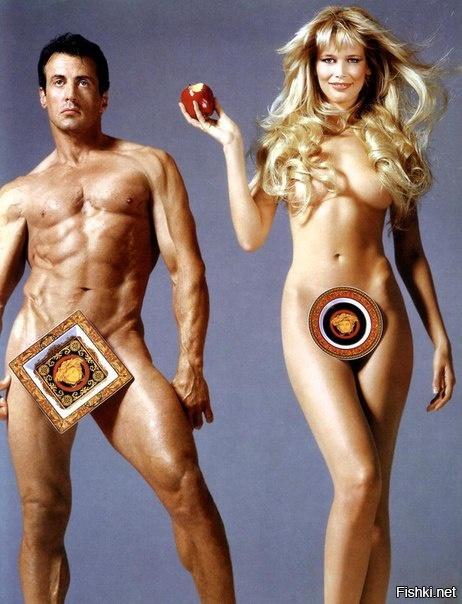Клаудиа Шиффер и Сильвестер Сталлоне в рекламной кампании Versace Home Collec...
