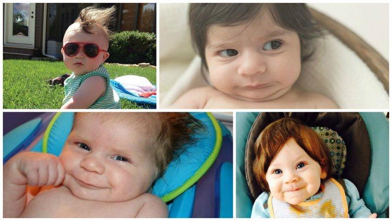 Это забавно: дети, которые родились с шикарными шевелюрами