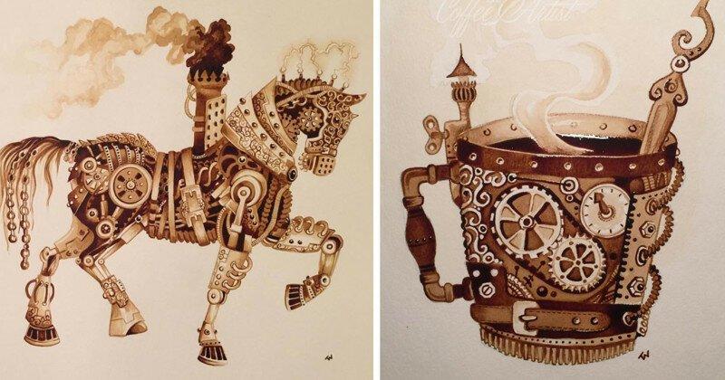 Художница рисует стимпанк, используя только натуральный кофе