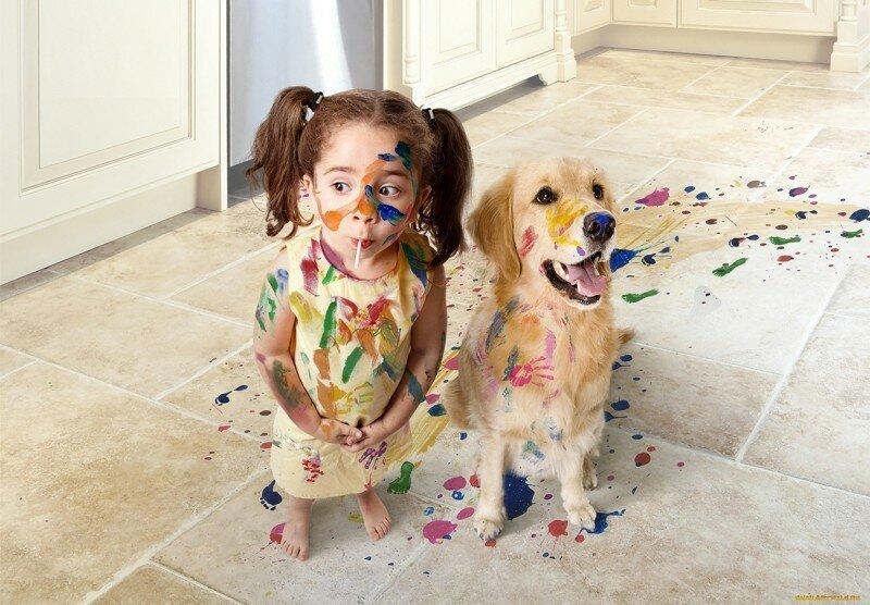 Дети и животные. Подборка смешных фотографий