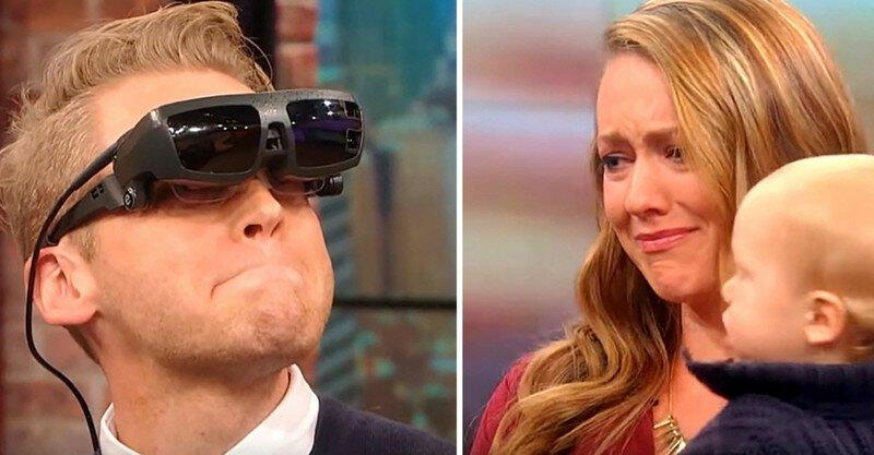 Слепой мужчина впервые в жизни смог увидеть свою жену и сына