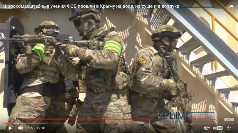 Учения российского спецназа в Крыму на воде, на суше, в воздухе