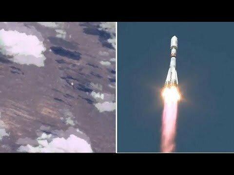 Вид из космоса на запуск ракеты с Байконура видео