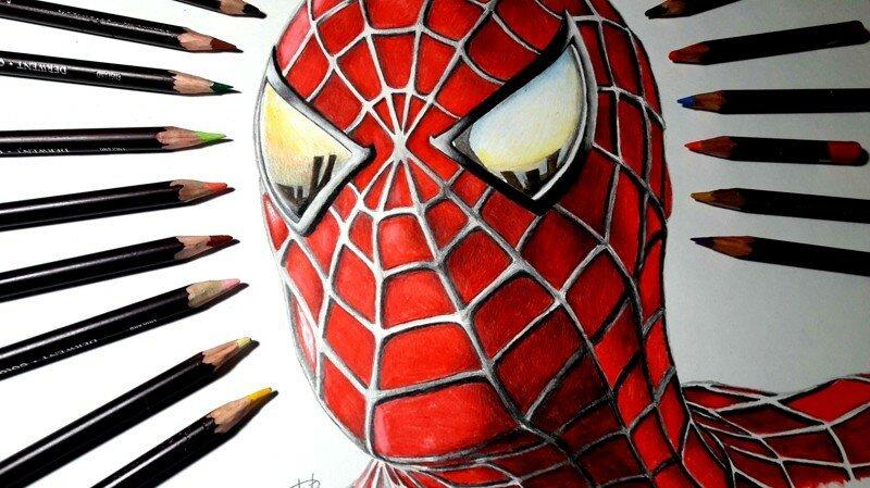 Рисунок Человека Паука по фильму Сэма Рэйми