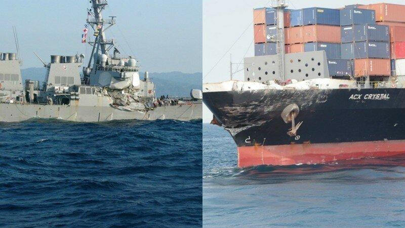 Столкновение эсминца США с контейнеровозом