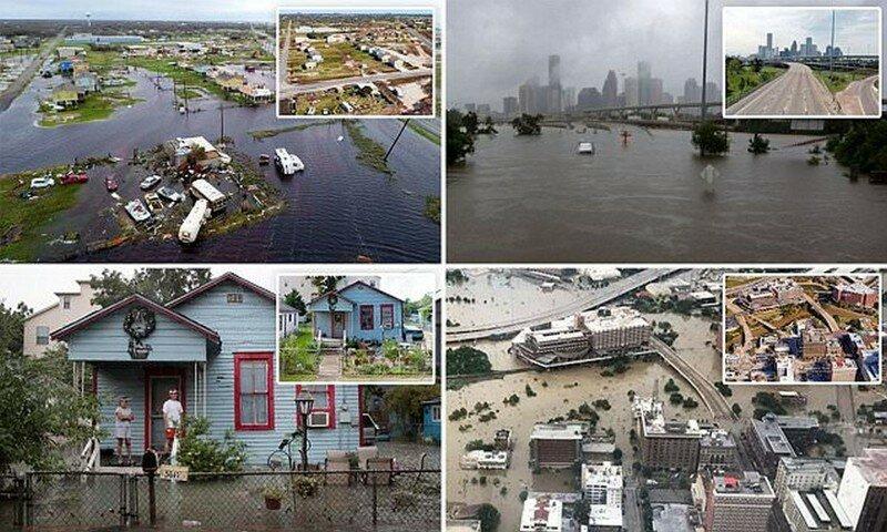 Наводнение в Хьюстоне: впечатляющие снимки до и после