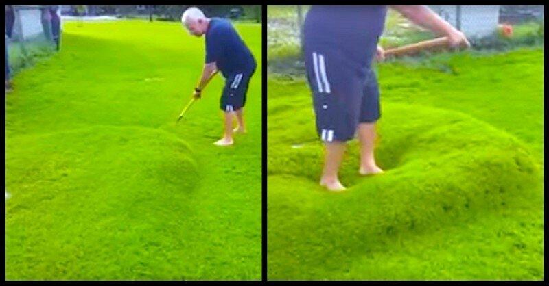 Такого вы еще не видели! Вот как лопается гигантский водяной пузырь на газоне!