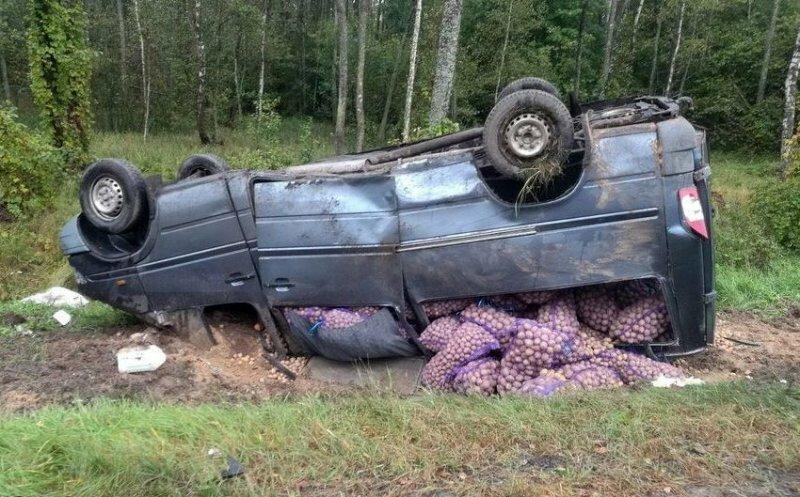 В Беларуси перевернулся микроавтобус набитый картошкой
