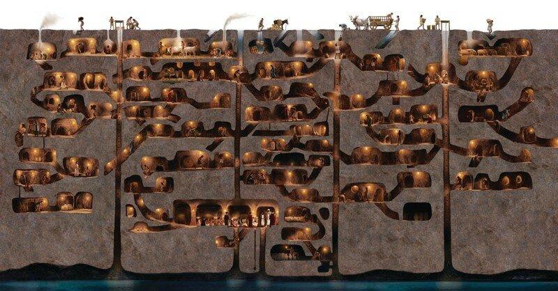 В турецком подземном городе когда-то жили 20 тысяч человек
