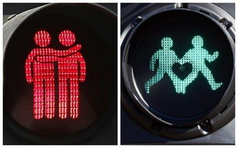 Натурал, ты не пройдешь! В Европе продолжают устанавливать ЛГБТ-светофоры