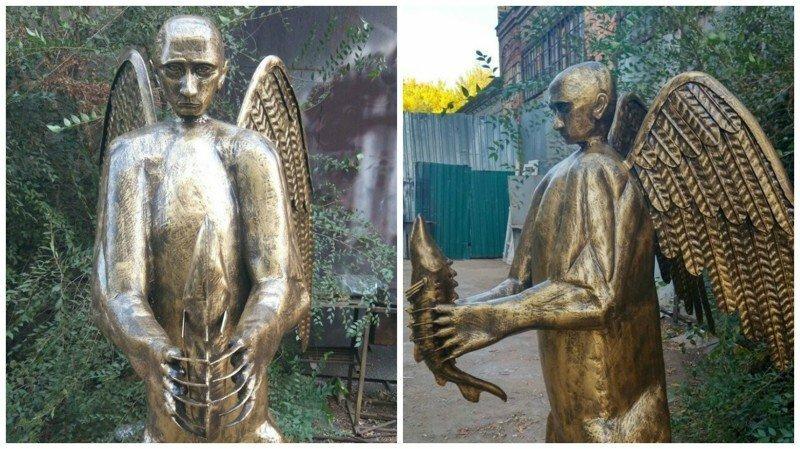 В Астрахани умелец сковал скульптуру медведя с головой президента, и хочет подарить её Путину