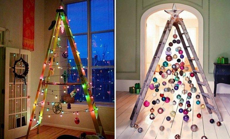 Если есть стремянка, елка не нужна! Запад снова отличился в праздничном декоре