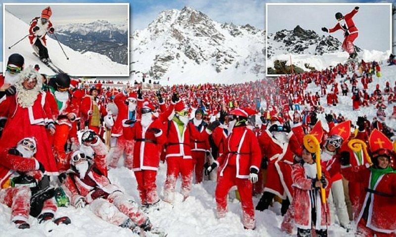 Сбор Санта Клаусов состоялся в Альпах