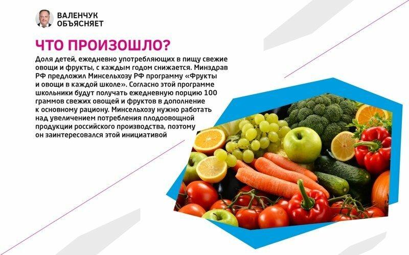 Программа «Фрукты и овощи в каждой школе» появится в России