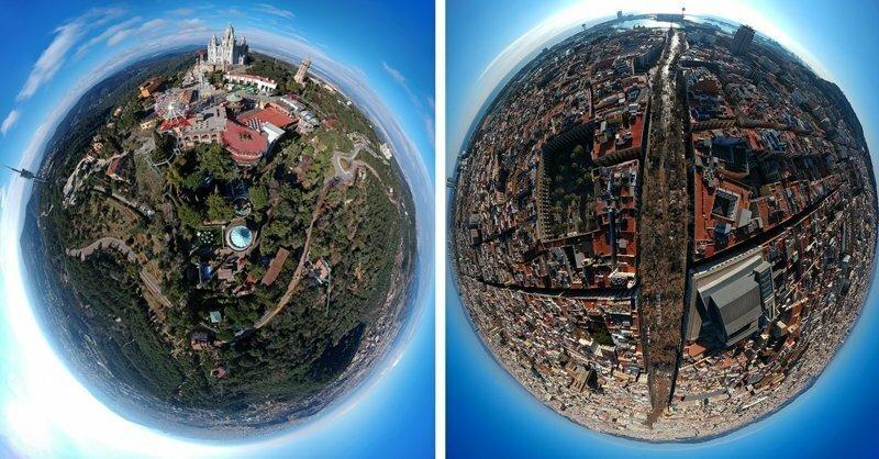 Барселона, похожая на маленькие планеты, в формате 360 градусов