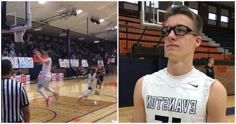 15-летний подросток стал звездой школы после невероятного броска в баскетбольное кольцо