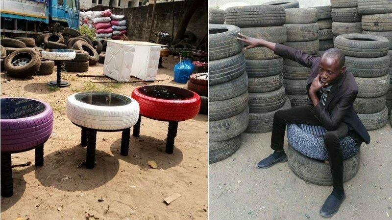 Новая жизнь старых покрышек: африканец мастерит из шин оригинальную мебель