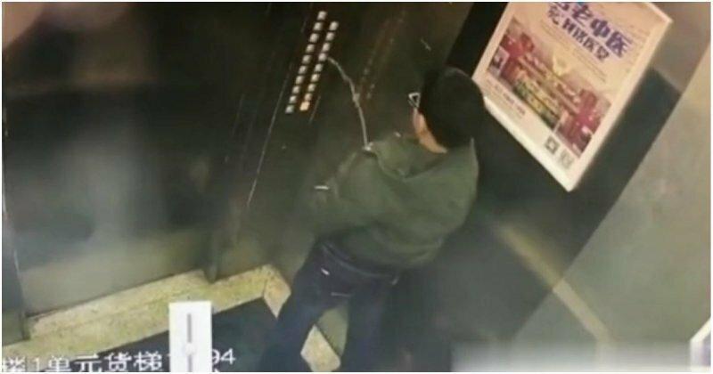 Лифт наказал китайского писающего мальчика