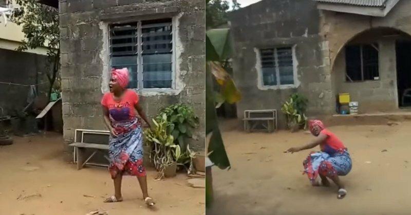 Причудливая реакция африканки на квадрокоптер