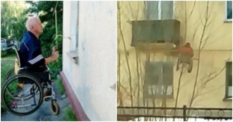 Инвалид-колясочник поднимается с улицы на балкон своей квартиры с помощью самодельного подъемника