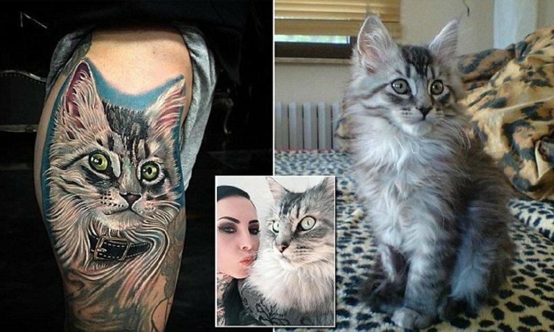 Женщина вытатуировала на теле портрет своего кота его собственной шерстью