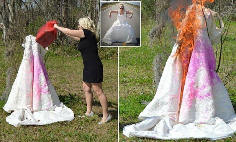 Женщина сожгла свадебное платье, чтобы отпразновать развод