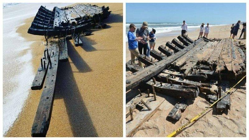 На пляж во Флориде вынесло обломки старинного корабля