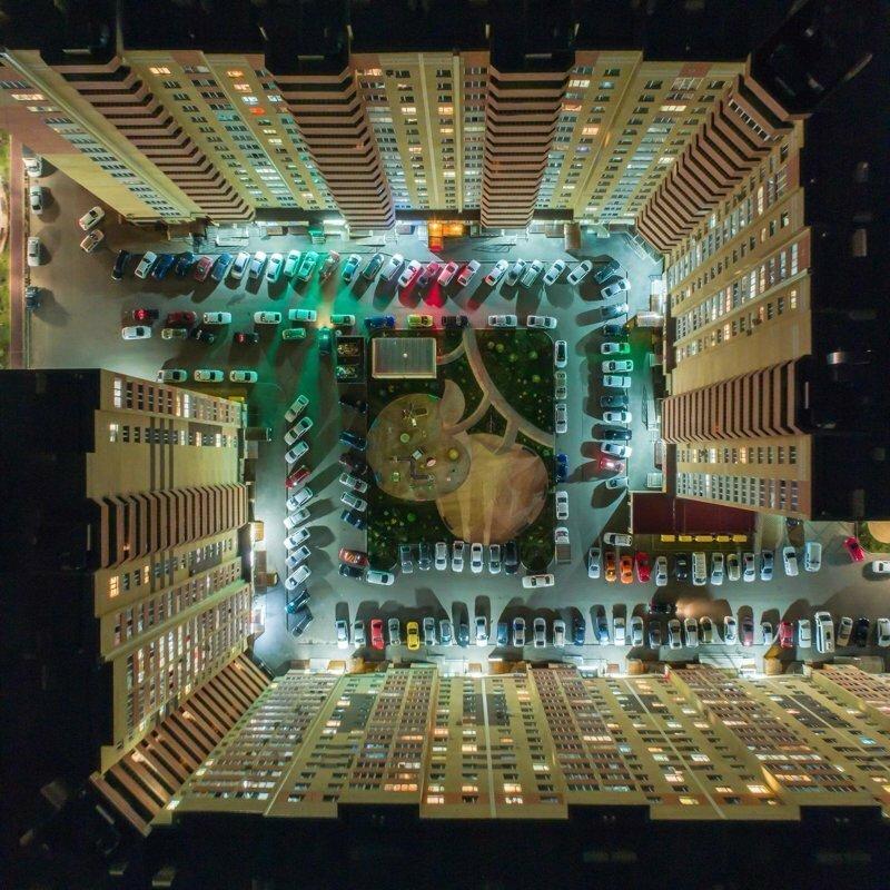 Ночной Ставрополь с высоты птичьего полёта