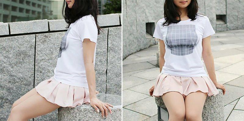 Оптический обман на службе у женщин: футболки с иллюзией увеличения груди