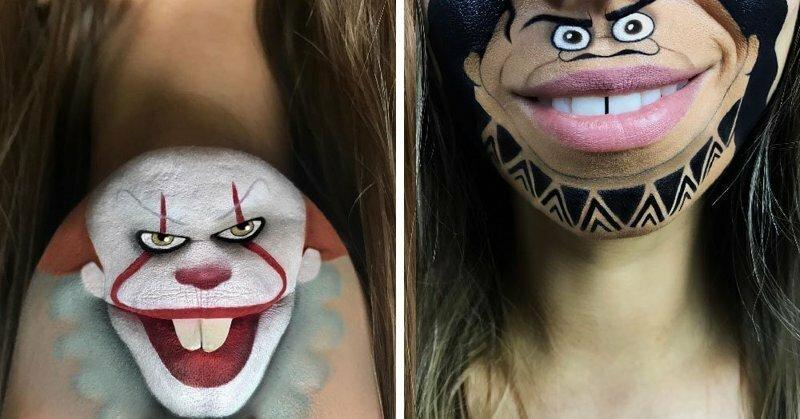 Девушка с помощью макияжа превращает свои губы в мультяшных героев