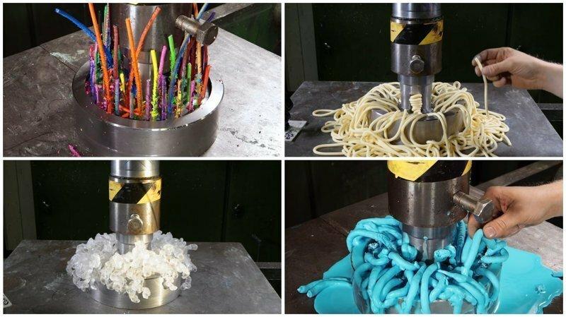 Видео: прикольные эксперименты с гидравлическим прессом и мягкими материалами