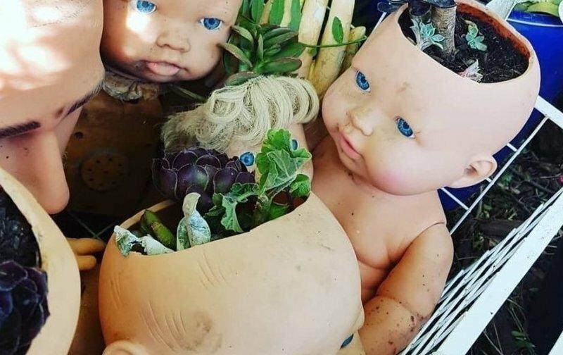Напугай соседей - посади растения в голове куклы-младенца