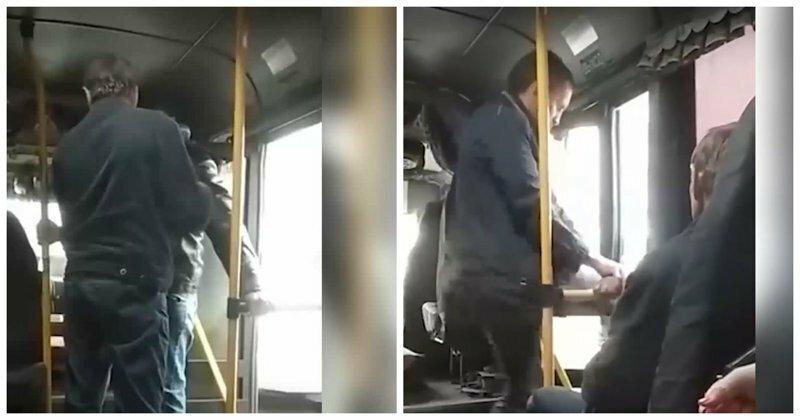 Водитель автобуса вытолкал пассажира из-за грязной одежды: видео