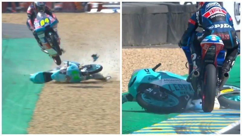 Гонщик избежал аварии, использовав мотоцикл соперника