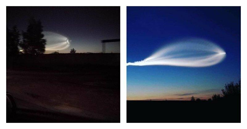 След ракеты или НЛО? Жители России делятся загадочными снимками ночного неба