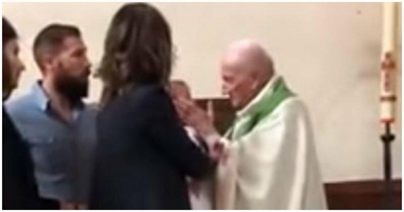 Католический священник ударил плачущего ребенка во время крещения