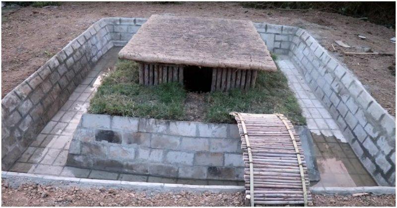 Как построить бассейн вокруг небольшой хижины с помощью примитивных технологий