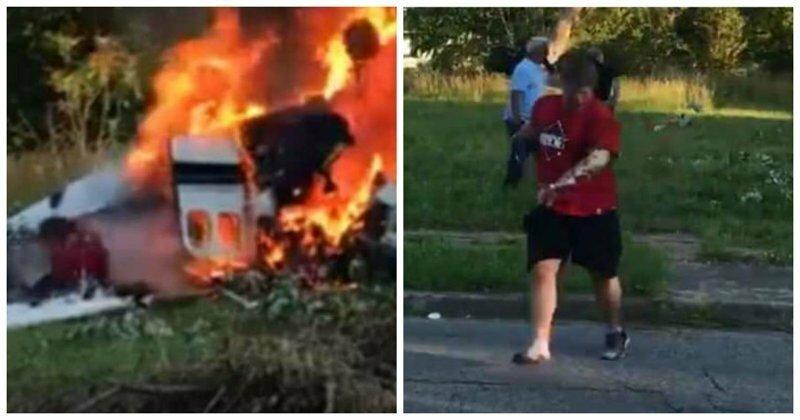 Подросток выбрался из обломков горящего самолета: видео