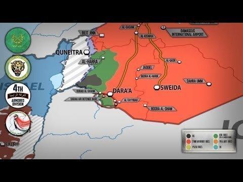 9 июля 2018. Военная обстановка в Сирии. Сирийские войска блокировали боевиков в городе Даръаа