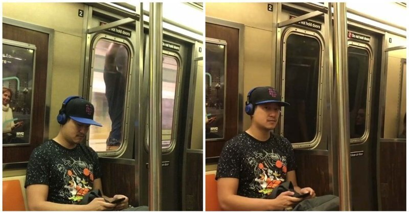 Пассажир нью-йоркского метро прокатился снаружи поезда, зацепившись за двери вагона