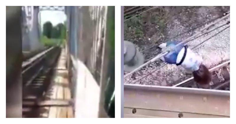 В попытке сделать селфи девочка упала с моста и повисла на высоковольтных проводах: видео
