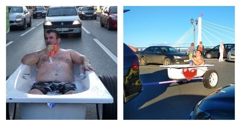 Тюменец прокатился по городу в ванне. И помыться успел, и людей повеселить: видео