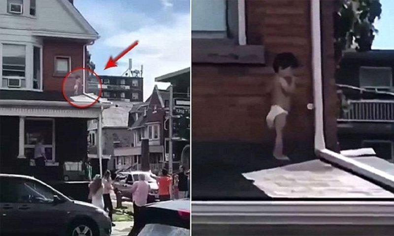 Прохожий пришел на помощь малышу, застрявшему на крыше