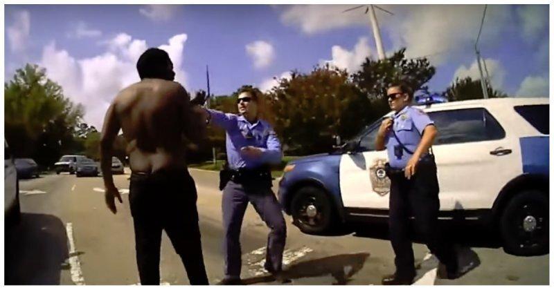 В США четверо полицейских долго не могли утихомирить безоружного агрессивного мужчину