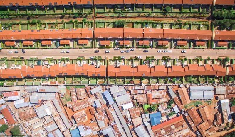 Пригород и трущобы: социальное неравенство в аэрофотографиях Джонни Миллера
